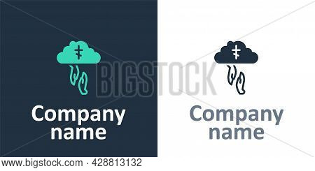 Logotype Gods Helping Hand Icon Isolated On White Background. Religion, Bible, Christianity Concept.
