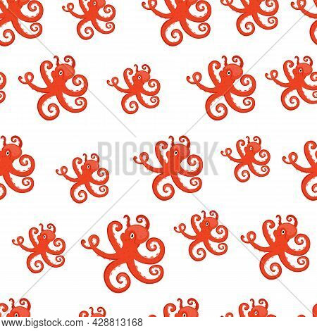 Marine Life Seamless Pattern. Octopus. Underwater Inhabitants.