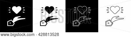 Set Pleasant Relationship Icon Isolated On Black And White Background. Romantic Relationship Or Plea