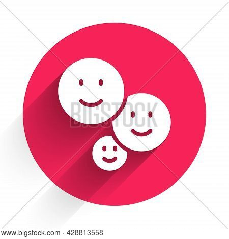White Happy Friendship Day Icon Isolated With Long Shadow. Everlasting Friendship Concept. Red Circl