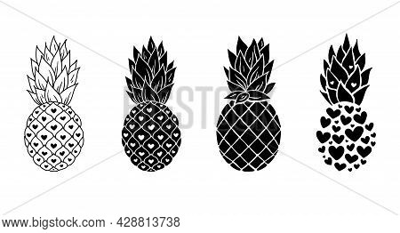 Pineapple Cliparts Bundle, Black And White Pineapple Silhouette, Tropical Fruit Design Elemnts, Isol