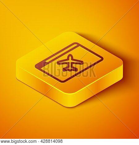 Isometric Line Website Template Icon Isolated On Orange Background. Internet Communication Protocol.