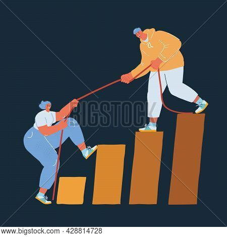 Vector Illustration Of Progress And Collaboration As Friend Helps Friend Climb Up Improvement Stairw