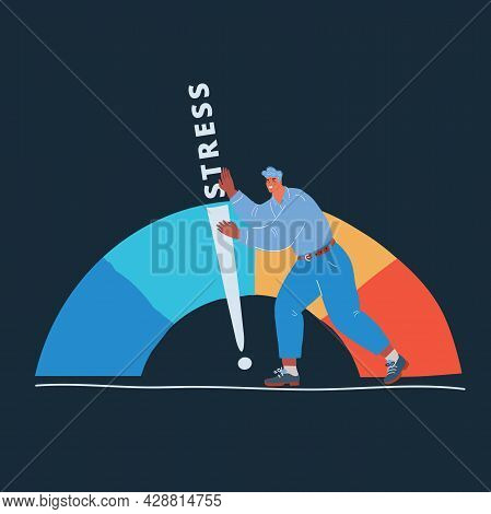 Vector Illustration Of Man With Arrow And Scale Level Of Stress. Nervous Stress And Fatigue Over Dar