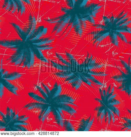Tropical Geometry Seamless Pattern With Chaotic Palms
