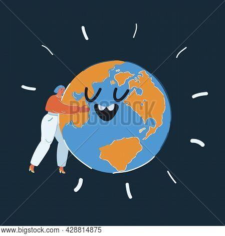 Vector Illustration Of Woman Hug The Earth Gloube Over Dark Backround.