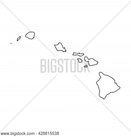 Outline Map Of Hawaii White Background. Vector Map With Contour.