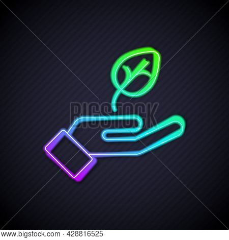Glowing Neon Line Plant In Hand Of Environmental Protection Icon Isolated Glowing Neon Line Backgrou