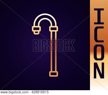 Gold Line Walking Stick Cane Icon Isolated On Black Background. Vector