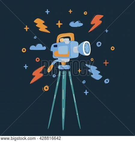 Vector Illustration Of Professional Digital Video Camera Over Dark Backround