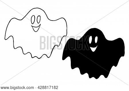 Vector Doodle Ghosts. Hand-drawn Ghosts, Halloween Icon