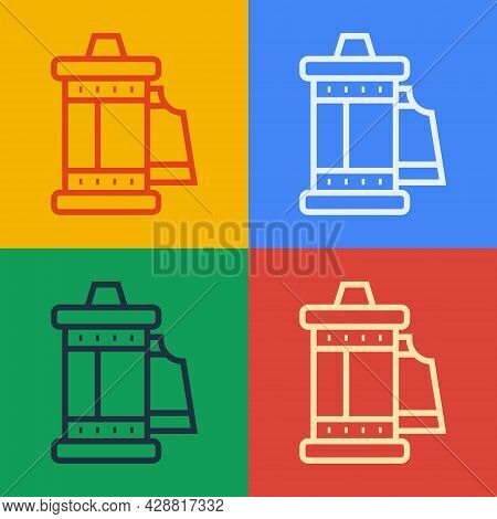 Pop Art Line Camera Vintage Film Roll Cartridge Icon Isolated On Color Background. 35mm Film Caniste