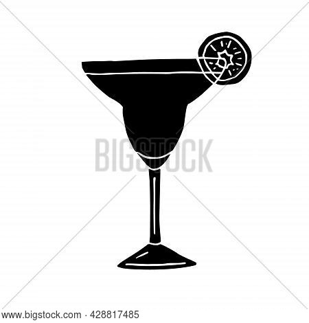 Vector Hand Drawn Doodle Sketch Black Margarita Cocktail Isolated On White Background