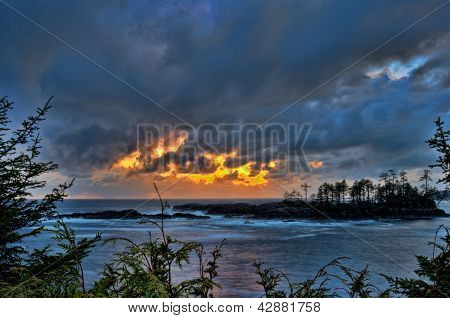 Golden Storm Clouds Over Ocean
