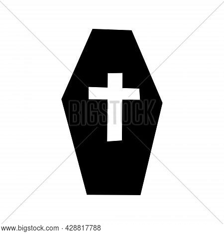 Black Coffin With A Cross. Vector Illustration