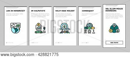 Green Economy Industry Onboarding Mobile App Page Screen Vector. Energy Saving Electrical Transport