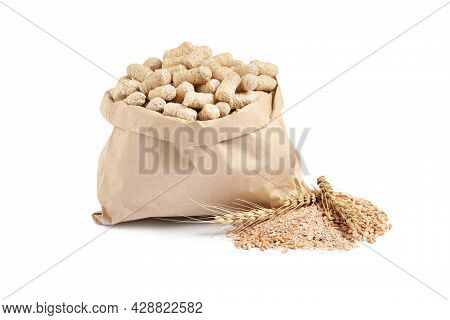Granulated Wheat Bran In Bag And Spikelets On White Background