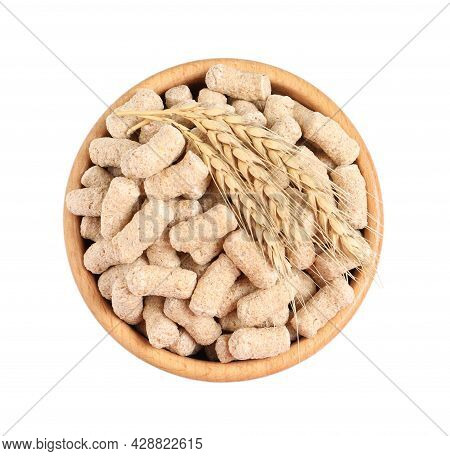 Granulated Wheat Bran And Spikelets In Bowl On White Background, Top View