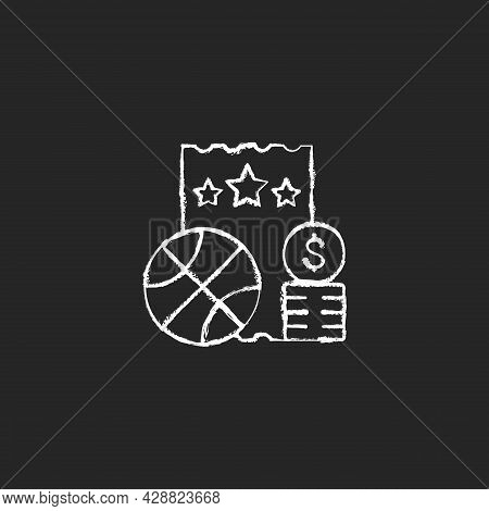 Sports Lottery Chalk White Icon On Dark Background. Making Stakes On Sporting Event Outcome. Sports