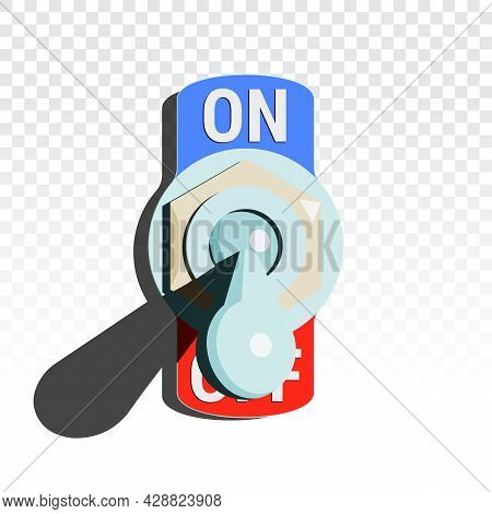 Toggle Switch Turned Off With Shadow On Transparent Background. Vector Illustration