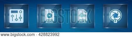 Set Sound Mixer Controller, Mp4 File Document, Mp3 And Camera Shutter. Square Glass Panels. Vector