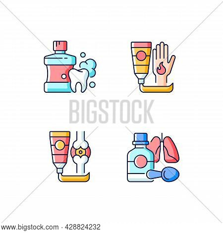 Medical Treatment Options Rgb Color Icons Set. Mouthwash For Oral Health. Antibacterial Cream. Arthr