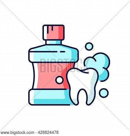 Mouthwash For Teeth Health Rgb Color Icon. Oral Rinse. Fighting Plaque Buildup. Preventing Teeth Dec