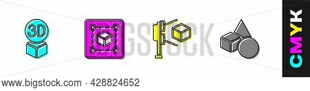 Set Isometric Cube, Geometric Figure Cube, 3d Scanner With And Basic Geometric Shapes Icon. Vector