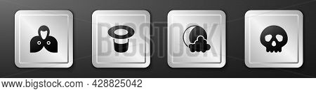 Set Mantle, Cloak, Cape, Magic Hat, Moon And Stars And Skull Icon. Silver Square Button. Vector
