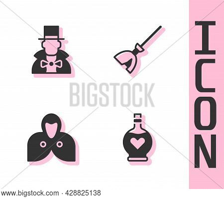 Set Bottle With Love Potion, Magician, Mantle, Cloak, Cape And Witches Broom Icon. Vector