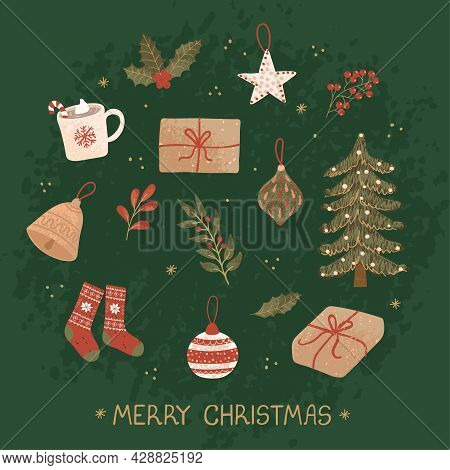 Vector Christmas Greeting Card With Hand Drawn Doodle Illustrations Of Christmas Objects. Use It As