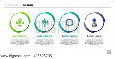 Set Christian Chalice, Cross, Crown Of Thorns And Jesus. Business Infographic Template. Vector