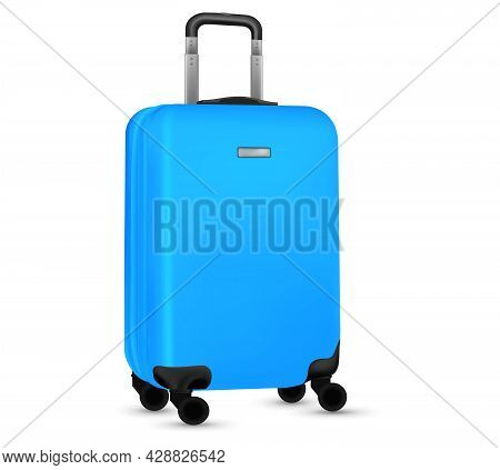 Travel Suitcase Isolated. Set Of Blue Plastic Luggage Or Vacation Baggage Bag On White Background. D