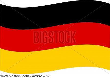 Germany Flag On White Background. National Germany Wave Flag. Germany Flag Sign. Flat Style.