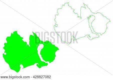 Kotelny Island (russia, Russian Federation, New Siberian Islands Archipelago, Anzhu Islands) Map Vec
