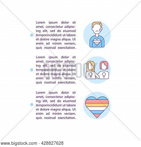 Lgbt Group Vulnerability Concept Line Icons With Text. Ppt Page Vector Template With Copy Space. Bro