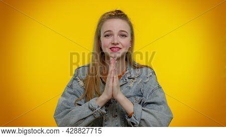 Please, God Help. Teen Student Girl Praying, Looking Upward And Making Wish, Asking With Hopeful Imp
