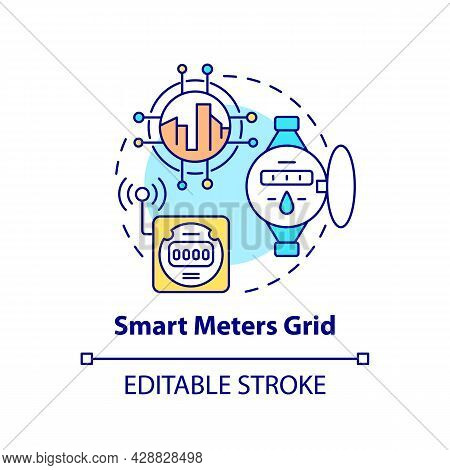 Smart Meters Grid Concept Icon. Electricity Consumption Data Abstract Idea Thin Line Illustration. P
