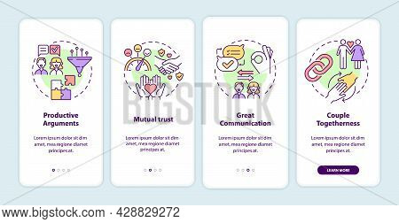 Mature Relationships Signs Onboarding Mobile App Page Screen. Mutual Trust Walkthrough 4 Steps Graph