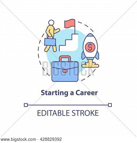 Starting A Career Concept Icon. Professional Identification. Financial Increment. Climbing The Ladde