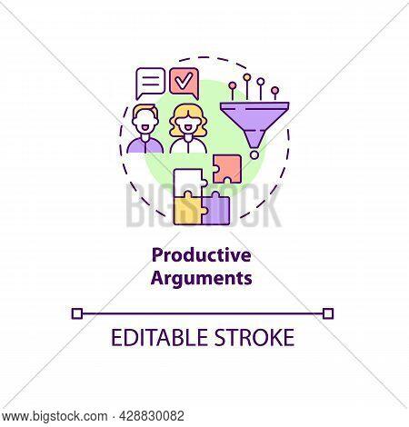 Productive Arguments Concept Icon. Common Problem Solving. Respect And Consensus. Mature Relationshi