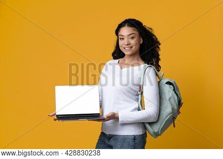 Online Education Website. Smiling Black Female Student Holding Laptop With Blank Screen