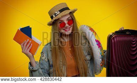 Traveler Tourist Teen Student Girl Celebrating, Holding Passport, Tickets, Luggage. Concept Summer V