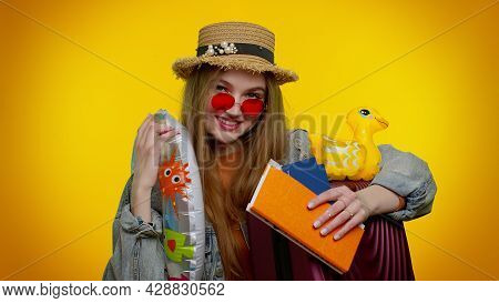 Traveler Tourist Cheerful Teen Stylish Girl Celebrating, Dancing Holding Passport, Tickets, Luggage.