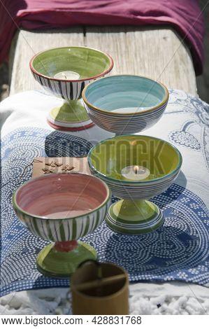 Ceramic Cups Sacred Altar And Alchemical Symbol