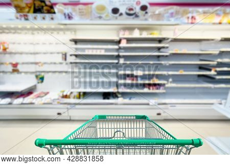 Empty Shelves In Supermarket Store Due To Novel Coronavirus Covid-19 Outbreak Panic In Thailand.