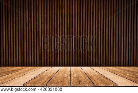 Wooden Slats. Natural Wood Lath Line Arrange Pattern Texture Background