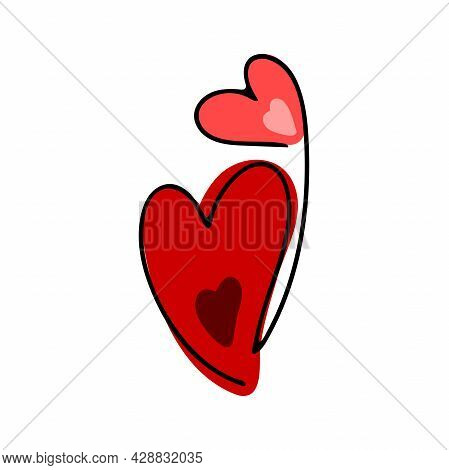 Doodle Valentines Day Heart. Hand Drawn Red Love Symbol Isolated On White Background. Cute Greeting