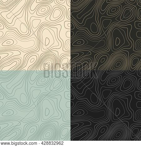 Topography Patterns. Seamless Elevation Map Tiles. Attractive Isoline Background. Superb Tileable Pa