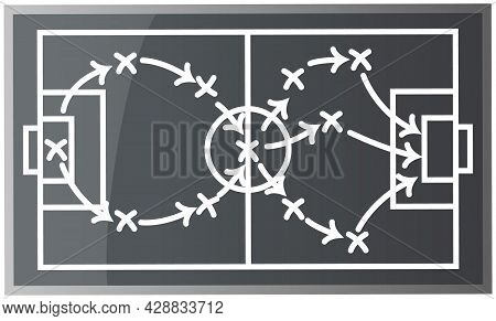 Top View Of Soccer Field Or Football Field Flat Vector Gray Playground With Schema Indicating Positi